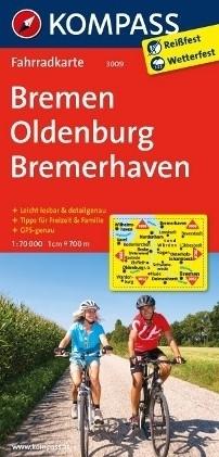 BREMA - OLDENBURG - BREMERHAVEN wodoodporna mapa turystyczna 1:70 000 KOMPASS