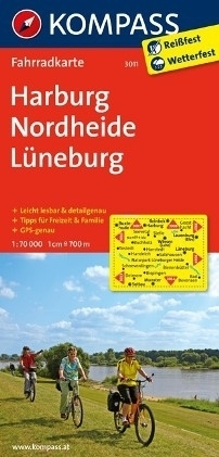 HARBURG - NORDHEIDE - LUNEBURG wodoodporna mapa turystyczna 1:70 000 KOMPASS