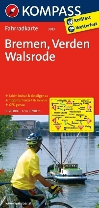 BREMEN - VERDEN - WALSRODE wodoodporna mapa turystyczna 1:70 000 KOMPASS