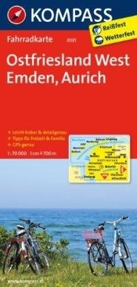 OSTFRIESLAND WEST - EMDEN - AURICH wodoodporna mapa turystyczna 1:70 000 KOMPASS