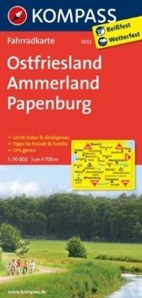 FRYZJA WSCHODNIA - AMMERLAND - PAPENBURG wodoodporna mapa turystyczna 1:70 000 KOMPASS
