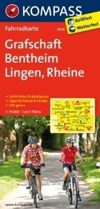 GRAFSCHAFT BENTHEIM - LINGEN - RHEINE wodoodporna mapa turystyczna 1:70 000 KOMPASS
