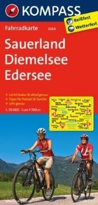 SAUERLAND - DIEMELSEE - EDERSEE wodoodporna mapa turystyczna 1:70 000 KOMPASS
