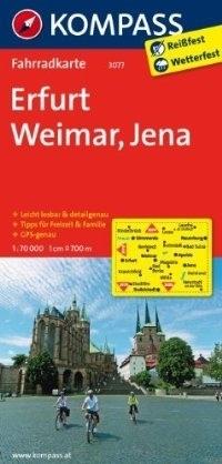 ERFURT - WEIMAR - JENA wodoodporna mapa turystyczna 1:70 000 KOMPASS
