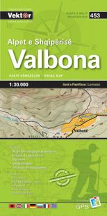 VALBONA mapa turystyczna GÓRY ALBANII VEKTOR papierowa