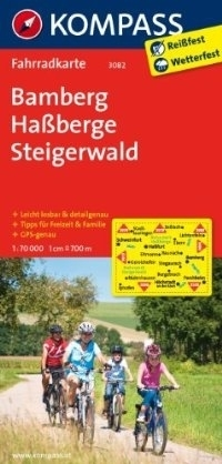 BAMBERG - HASSBERGE - STEIGERWALD wodoodporna mapa turystyczna 1:70 000 KOMPASS