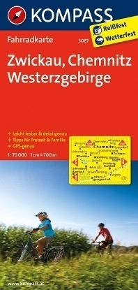 ZWICKAU - CHEMNITZ - WESTERZGEBIRGE wodoodporna mapa turystyczna 1:70 000 KOMPASS