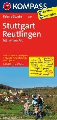 STUTTGART - REUTLINGEN - MÜNSINGER ALB wodoodporna mapa turystyczna 1:70 000 KOMPASS