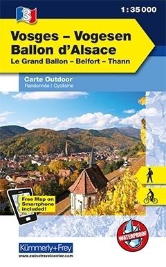 WOGEZY BALLON D ALSACE laminowana mapa turystyczna 1:35 000 KUMMERLY FREY