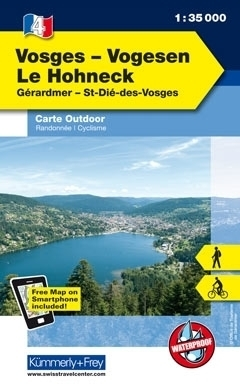WOGEZY LE HOHNECK laminowana mapa turystyczna 1:35 000 KUMMERLY FREY