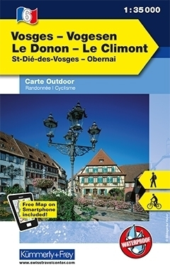 WOGEZY -LE DONON - LE CLIMONT laminowana mapa turystyczna 1:35 000 KUMMERLY FREY
