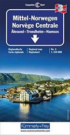 NORWEGIA ŚRODKOWA ALESUND - TRONDHEIM - NAMSOS mapa samochodowa 1:335 000 Kummerly + Frey