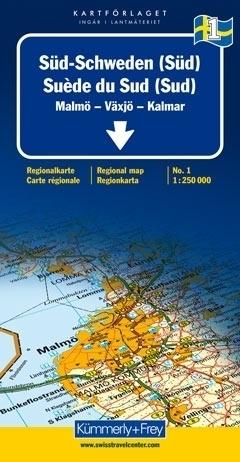 SZWECJA POŁUDNIOWA - MALMO - VAXJO - KALMAR mapa samochodowa 1:250 000 Kummerly + Frey