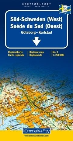 SZWECJA POŁUDNIOWA - GOTEBORG - KARLSTAD mapa samochodowa 1:250 000 Kummerly + Frey