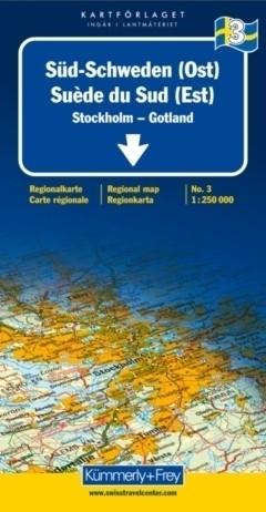 SZWECJA POŁUDNIOWA - GOTLAND - SZTOHKOLM mapa samochodowa 1:250 000 Kummerly + Frey