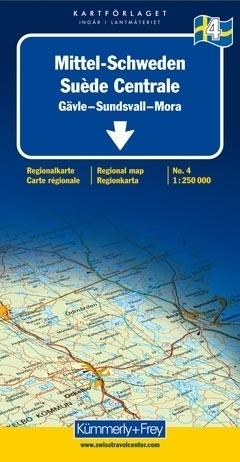 SZWECJA ŚRODKOWA GAVLE - SUNDSVALL - MORA mapa samochodowa 1:250 000 Kummerly + Frey
