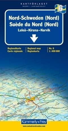 SZWECJA PÓŁNOCNA LULEA - KIRUNA - NARWIK mapa samochodowa 1:400 000 Kummerly + Frey