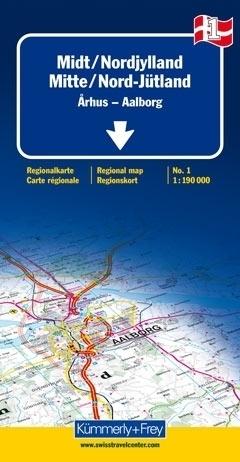 DANIA - JUTLANDIA PÓŁNOCNA- ARHUS - AALBORG mapa samochodowa 1:190 000 Kummerly + Frey