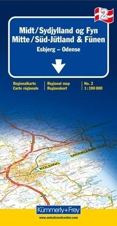 DANIA - JUTLANDIA POŁUDNIOWA - ESBJERG - FUNEN mapa samochodowa 1:190 000 Kummerly + Frey