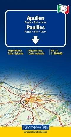 APULIA - FOGGIA - BARI - LECCE mapa samochodowa 1:200 000 Kummerly + Frey