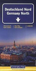 NIEMCY PÓŁNOCNE mapa samochodowa laminowana 1:500 000 Kummerly + Frey