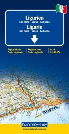 LIGURIA - SAN REMO - GENUA - LA SPEZIA mapa samochodowa 1:200 000 Kummerly + Frey