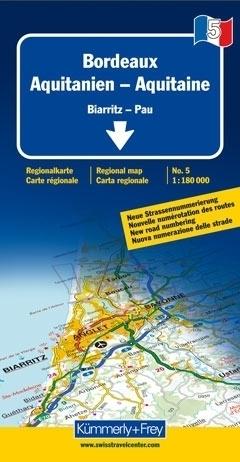 BORDEAUX - AKWITANIA mapa samochodowa 1:180 000 Kummerly + Frey