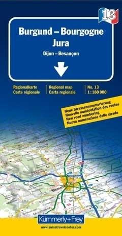 BURGUNDIA - JURA mapa samochodowa 1:180 000 Kummerly + Frey