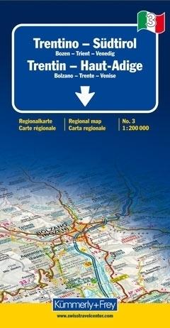 TRENTINO POŁUDNIOWY TYROL mapa samochodowa 1:200 000 Kummerly + Frey