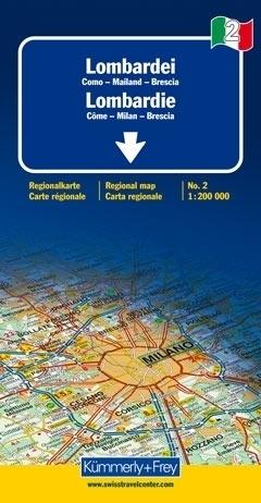 LOMBARDIA - COMO - MILAN - BRESCIA mapa samochodowa 1:200 000 Kummerly + Frey