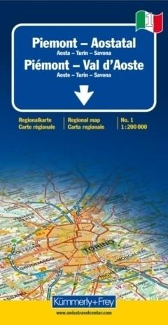 DOLINA AOSTY - PIEMONT - TURYN  mapa samochodowa 1:200 000 Kummerly + Frey