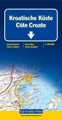 CHORWACJA WYBRZEŻE mapa samochodowa 1:250 000 Kummerly + Frey