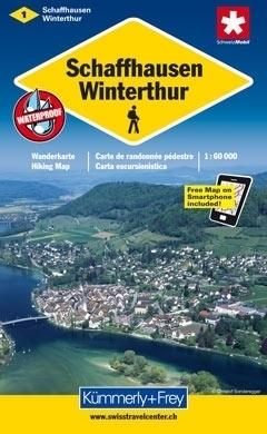SZAFUZA - WINTERTHUR wodoodporna mapa samochodowa 1:60 000 Kummerly + Frey
