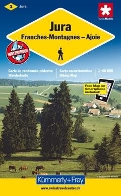 JURA - GÓRY FRANCHES - AJOIE  wodoodporna mapa samochodowa 1:60 000 Kummerly + Frey