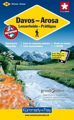 DAVOS - AROSA wodoodporna mapa samochodowa 1:60 000 Kummerly + Frey