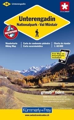 DOLNA ENGADYNA UNTERENGADIN NP - VAL MUSTAIR wodoodporna mapa samochodowa 1:60 000 Kummerly + Frey