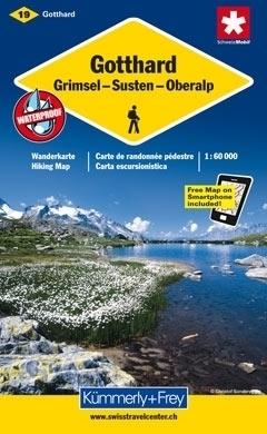 GOTTHARD - GRIMSEL - SUSTEN - OBERALP wodoodporna mapa samochodowa 1:60 000 Kummerly + Frey