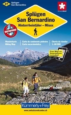 SPLUGEN - SAN BERNARDINO - HINTERRHEINTALER - MISOX wodoodporna mapa samochodowa 1:60 000 Kummerly + Frey
