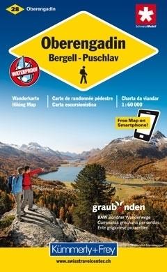 OBERENGADIN - BERGELL - PUSCHLAV wodoodporna mapa samochodowa 1:60 000 Kummerly + Frey