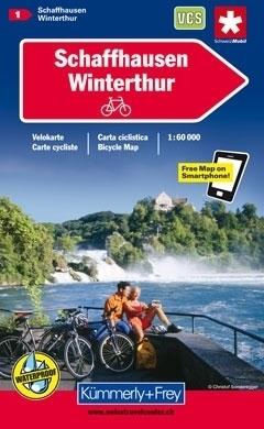 SCHLAFFHAUSEN - WINTERTHUR wodoodporna mapa rowerowa 1:60 000 Kummerly + Frey