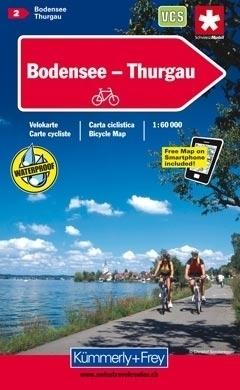JEZIORO BODEŃSKIE - TURGOWIA wodoodporna mapa rowerowa 1:60 000 Kummerly + Frey