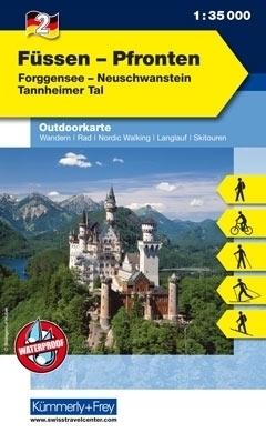FUSSEN - PFRONTEN laminowana mapa turystyczna 1:35 000 KUMMERLY FREY