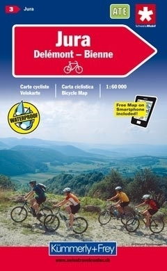 JURA DELEMONT - BIENNE wodoodporna mapa rowerowa 1:60 000 Kummerly + Frey