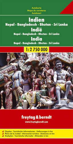 INDIE NEPAL BANGLADESZ BUTHAN SRI LANKA mapa 1:2 750 000 FREYTAG & BERNDT