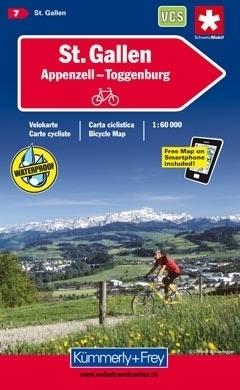 ST GALLEN - APPENZELL - TOGGENBURG wodoodporna mapa rowerowa 1:60 000 Kummerly + Frey