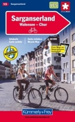 SARGANSERLAND - WALENSEE - CHUR wodoodporna mapa rowerowa 1:60 000 Kummerly + Frey