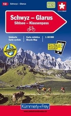 SCHWYZ - GLARUS - SIHLSEE - KLAUSENPASS wodoodporna mapa rowerowa 1:60 000 Kummerly + Frey