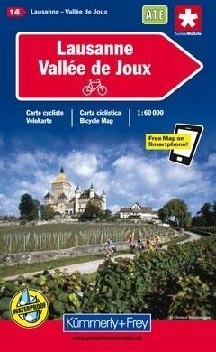LOZANNA - VALLE DE JOUX wodoodporna mapa rowerowa 1:60 000 Kummerly + Frey