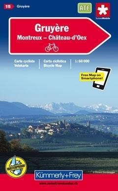 GRUYERE - MONTREUX - CHATEAU DOEX wodoodporna mapa rowerowa 1:60 000 Kummerly + Frey