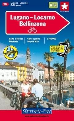 LUGANO - LOCARNO - BELLINZONA wodoodporna mapa rowerowa 1:60 000 Kummerly-Frey